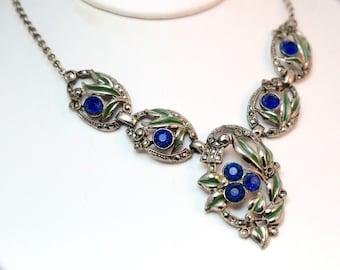 Gotgeous Art Nouveau Saphire Blue Crystal & Marcasite Necklace with Green Enamel Nature Detail