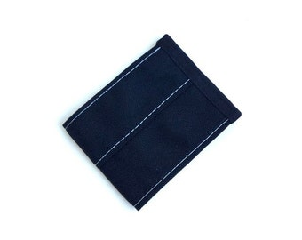 Minimalist Vegan Wallet in Black Cordura Nylon with Gray Stitching