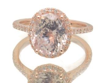 4.96 carts Champagne Peach Sapphirerose rose gold engagement ring   sapphire engagement ring   SKU 2328 Catalin