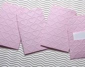 12 teeny tiny envelope note sets handmade in Pinkini Valentine heart embossed miniature square favors weddings guest book