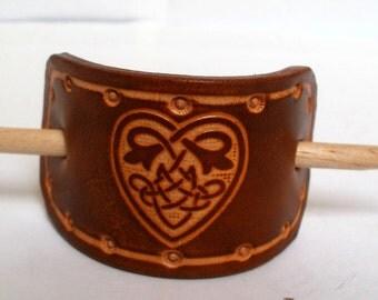 Leather hair barrette, hair slide, stick, size small, tan,  embossed Celtic heart