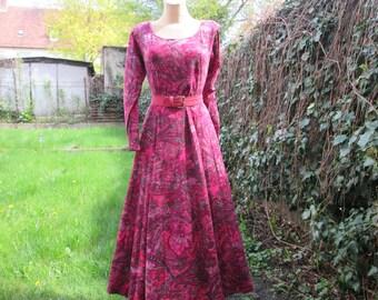 Long Cotton Dress / Dress Vintage / Cotton Dress / Long Circle Dress / Red Cotton Dress / Circle Dress / Size EUR42 / UK14