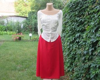 Red Skirt / Skirt Vintage / Germany Skirt / A Line Red Skirt / Red Skirt Pockets / Size EUR40 / UK12