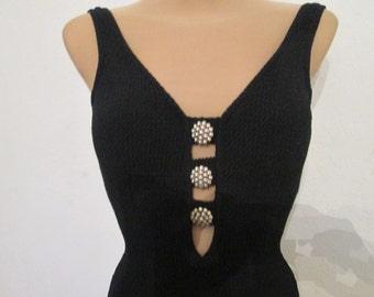 1PC  Black Swimsuit Vintage / Size EUR40 / 42 / UK12 / 14