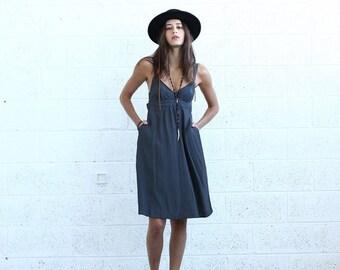Summer Sale Sarafan Dress- Gray midi dress- Grey tank dress