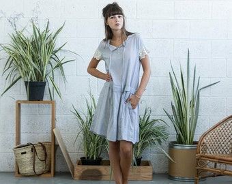 Summer SALE Drop waist midi dress with lace detail ,Light grey linen summer dress