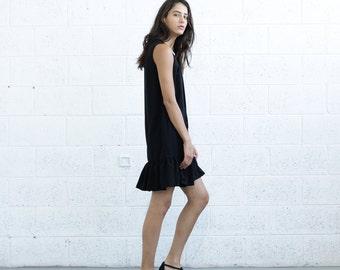 Lace Up Peplum Dress, Black.