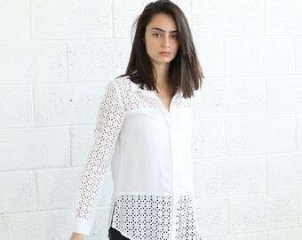 Buttoned Embroidered Shirt-Embroidered White blouse .