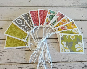 Gift Tags, Gift Tag Set, Assorted Gift Tags, Paper Tags, Folded Gift Tags, Blank Gift Tags, Set of 12 Folded Gift Tags, Gift Tag Set