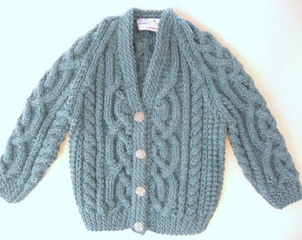 Heather Green Celtic Cardigan for Baby Girl 6 Months