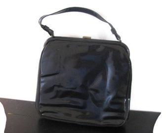 JR black leather large handbag lined in red satin