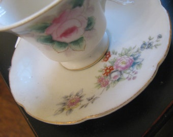 Occupied Japan Cottage mismatched demitasse cup saucer country flowers