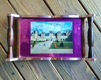 Fontainebleau Palace, Fountainebleau Tray, French Fontainebleau Palace, Wood Tray, Marie Antoinette Tray, Fontainebleau Palace, Paris Tray
