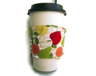 TWO SIDED coffee cozy, cup sleeve, with fruit pattern, apples oranges pears lemons leaves, reversible light green
