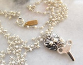 Vintage Jewelry Key to My Heart Necklace with Sterling and Pearls