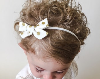 White Metallic Gold Dot Holiday Bow - White Christmas Bow - White and Gold Baby Bow - Gold Metallic Bow Headband or Clip - Holiday Gold Bow