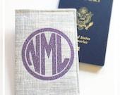 Personalized Passport Cover Glitter Circle Monogram Lavender Silver Glam Destination Wedding Bridesmaid Gift Honeymoon Cruise Travel Wallet