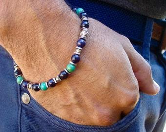 Minimalist Men's Spiritual Healing and Protection Bracelet with Semi Precious American Turquoise, Blue Aventurine, Hematites,  Love Bracelet