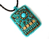 Christmas in July ON SALE Bead embroidered necklace, Handmade Necklace, Beaded necklace, Turquoise and bronze embroidery necklace, Gift's fo