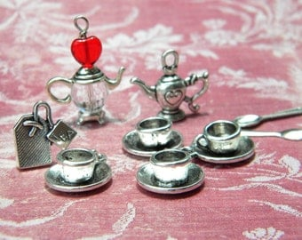 9 Alice in Wonderland TEA Party Charm Drops - Teapot Teabag Tea Cup Spoons Silver finish Mixed  D.I.Y.