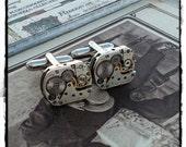 Mens Steampunk Silver Cuff Links Cufflinks Rectangle Vintage Mechanical Watch