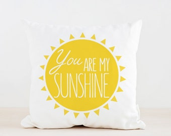 You are my sunshine Pillow, Kids Pillow Cushion, Home decor, Children Room Decor, Baby room deocr