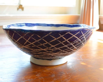 Black and Blue Crosshatch Bowl