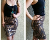 NEW! Grey/Gold Pencil Sequin Skirt 20 inches - Stretchy, beautiful knee length skirt (Small, Medium, Large, XLarge)