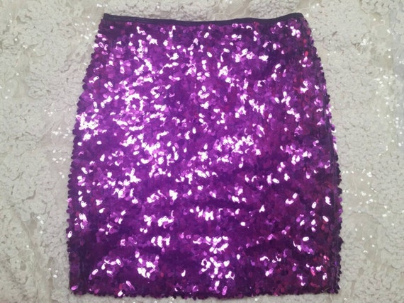 M/L Purple Vibrant Skirt - Last Ones - Sexy Stretchy Sequin Mini Party Skirt