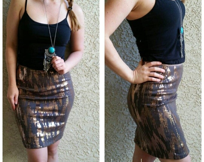 Clearance Grey/Gold Pencil Sequin Skirt 20 inches - Stretchy, beautiful knee length skirt. Last ones. Ships asap!