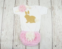 my first easter outfit, easter girl outfit, easter diaper cover, bunny tail bloomers, baby girl easter, baby bunny shirt, 1st easter shirt