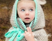 Bear poncho, Hooded poncho, Childrens poncho, Childrens animal poncho, Animal poncho, animal hood, bear hood, unique winter hats, winter hat