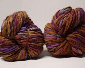 Thick and Thin Merino Handspun Slub Wool Yarn tts(tm) Hand dyed Half-Pounder xLR 1606x