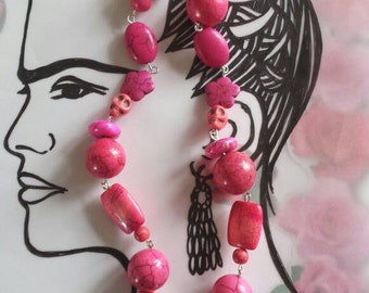 Sale was 30 now 26uk Frida Kahlo Inspired Pink Howlite Day of the Dead DashAngel Doodle  Skull and Flower Necklace