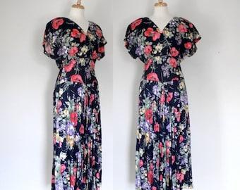THE LOVE SALE 80s Dress / 80s Floral Dress / 80s Maxi Dress / 80s Midi Dress / 80s Country Style  / Js Edwards