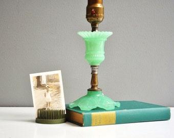 Antique Jadeite Table Lamp