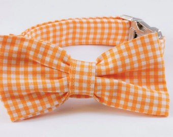 Preppy Orange Gingham Dog Bow Tie Collar, Preppy Dog Bowtie Collar, Orange Check Dog Bow Tie Collar, Plaid, Tennessee Vols
