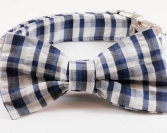 Navy Madras Plaid Bow Tie Dog Collar, Blue Madras BowTie Collar, Plaid Dog Collar, Nautical Dog Collar