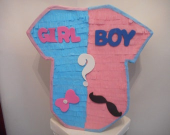 MUSTACHE BOW onesi  baby shower gender reveal pinata pull strings traditional boy girl