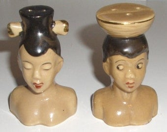 African natives black man and woman Salt and pepper shakers