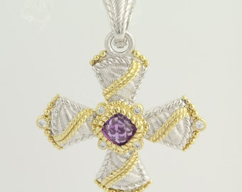 Amethyst and Cubic Zirconia Pendant - Sterling Silver & Gold Plated L9408