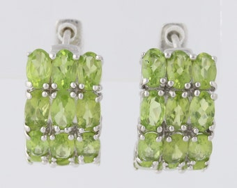 Chunky Peridot Hoop Earrings Sterling Silver Pierced Girl Birthstone 6.75ctw mq1830