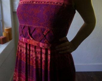 Vintage Maxi Dress S M Boho Hippie Gypsy Tribal Ethnic Folk Bohemian Mod Pink Purple Floral Club Kid Grunge Hipster 80s 90s Mod Art Festival
