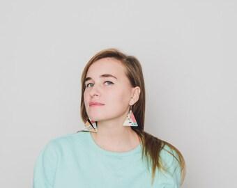 Mint triangle earrings