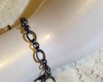Vintage 925 Sterling SilverChain Link Charm Bracelet