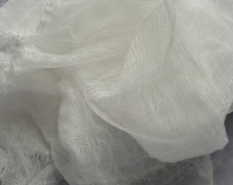 cotton scrim 2 yards, cheesecloth, felting, pure white