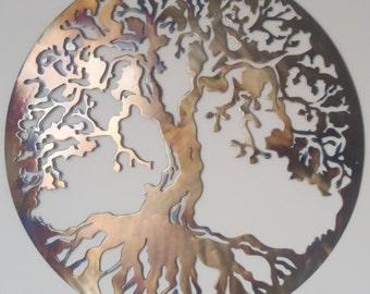60 cm Tree Of Life, Metal Art - HEAT COLORED