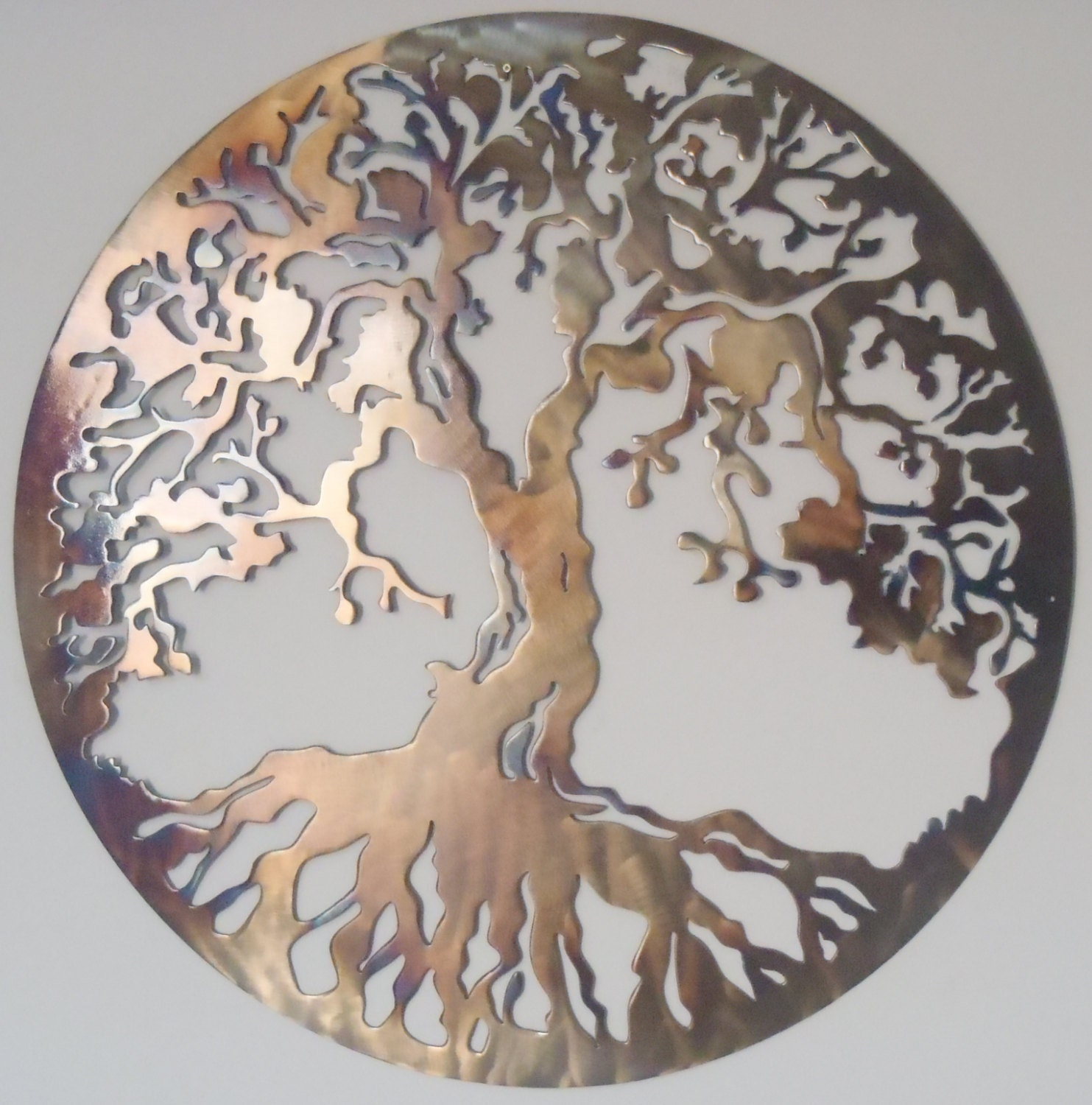 60 cm tree of life metal art heat colored. Black Bedroom Furniture Sets. Home Design Ideas