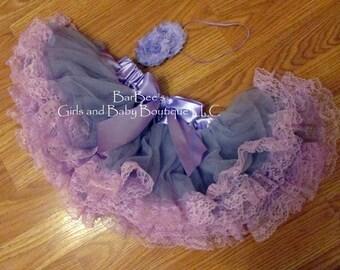 Lace Ruffled Chiffon Petti Skirt Lavender and Hot Pink, with a matching headband and satin bow, birthdays, photo prop