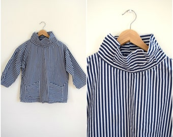 Vintage mens navy and white striped funnel neck shirt / retro athletic top